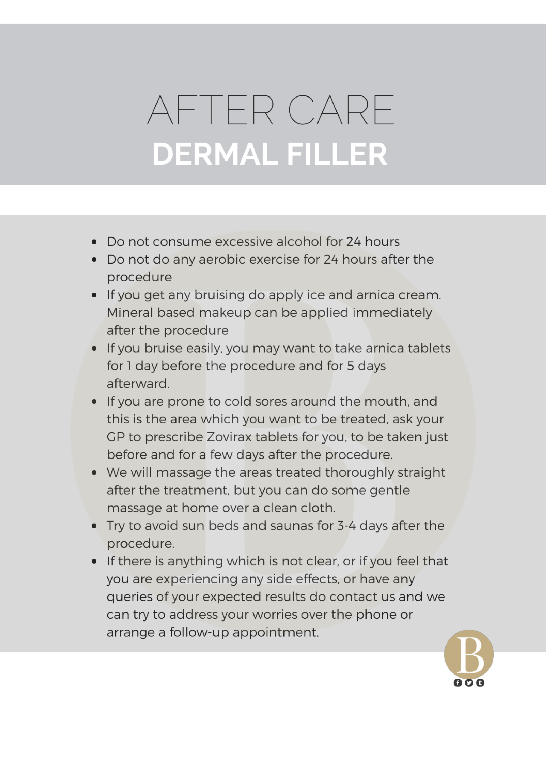 Dermal Filler Aftercare - Bellisimos